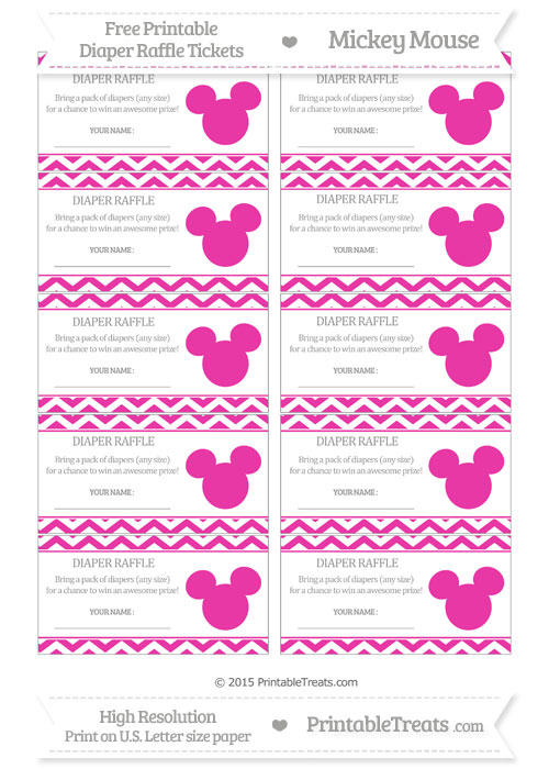 Free Hot Pink Chevron Mickey Mouse Theme Diaper Raffle Tickets