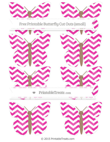Free Hot Pink Chevron Small Butterfly Cut Outs