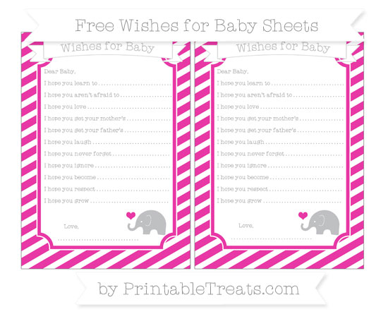 Free Hot Pink Diagonal Striped Baby Elephant Wishes for Baby Sheets