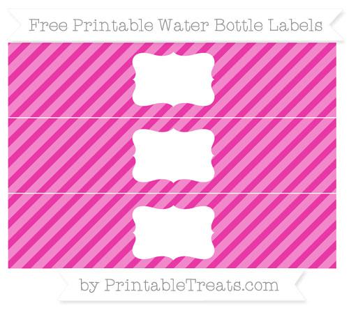 Free Hot Pink Diagonal Striped Water Bottle Labels