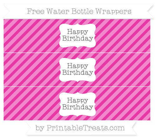 Free Hot Pink Diagonal Striped Happy Birhtday Water Bottle Wrappers