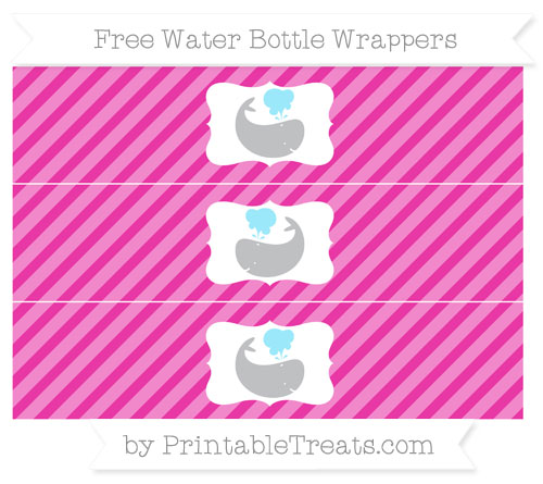 Free Hot Pink Diagonal Striped Whale Water Bottle Wrappers