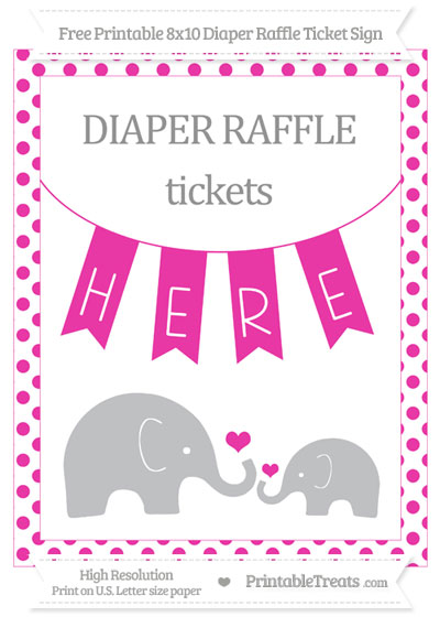 Free Hot Pink Dotted Elephant 8x10 Diaper Raffle Ticket Sign
