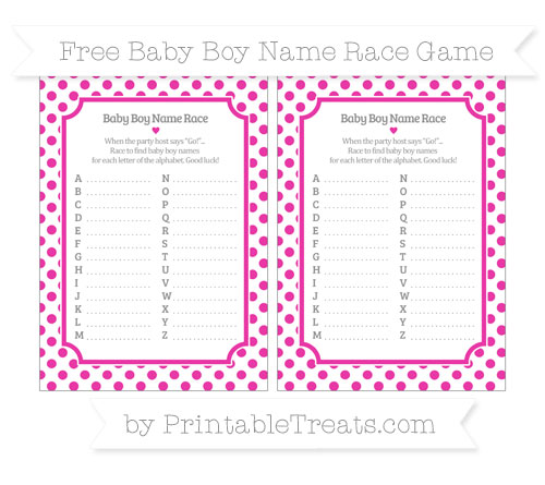 Free Hot Pink Dotted Pattern Baby Boy Name Race Game