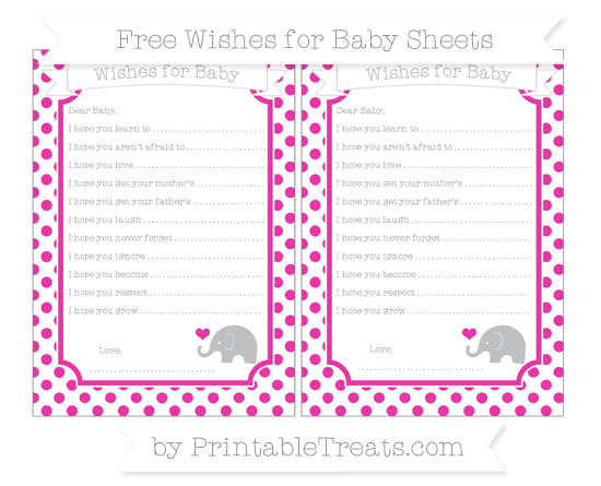 Free Hot Pink Dotted Pattern Baby Elephant Wishes for Baby Sheets