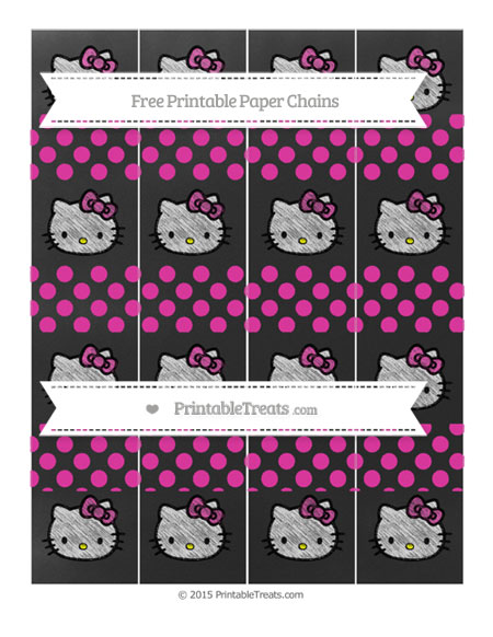 Free Hot Pink Dotted Pattern Chalk Style Hello Kitty Paper Chains
