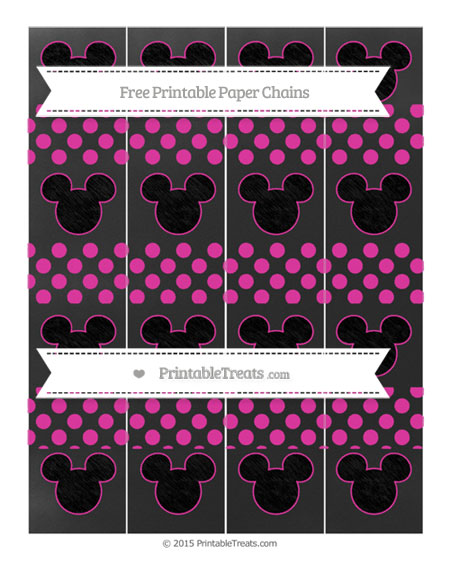 Free Hot Pink Dotted Pattern Chalk Style Mickey Mouse Paper Chains