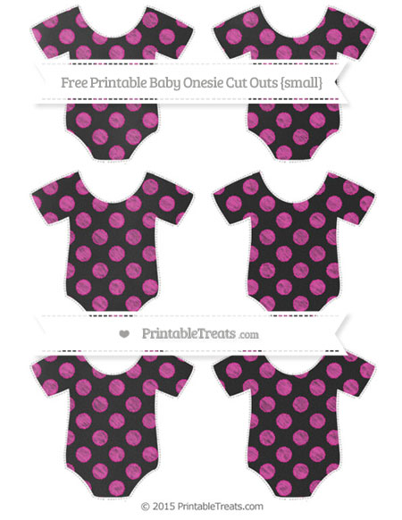 Free Hot Pink Dotted Pattern Chalk Style Small Baby Onesie Cut Outs