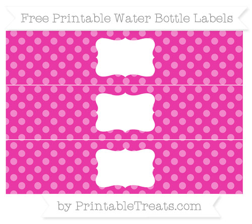 Free Hot Pink Dotted Pattern Water Bottle Labels