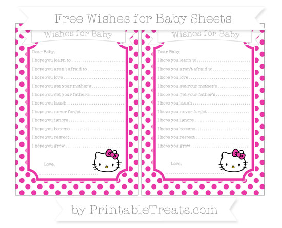 Free Hot Pink Dotted Pattern Hello Kitty Wishes for Baby Sheets