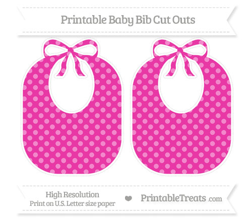 Free Hot Pink Dotted Pattern Large Baby Bib Cut Outs