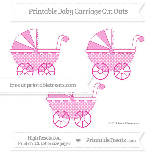Free Hot Pink Dotted Pattern Medium Baby Carriage Cut Outs