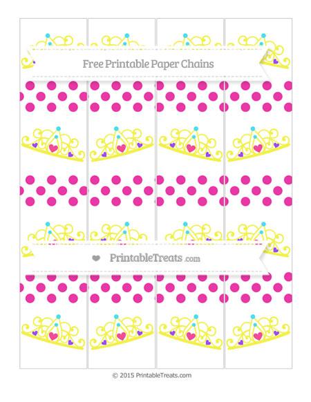 Free Hot Pink Dotted Pattern Princess Tiara Paper Chains