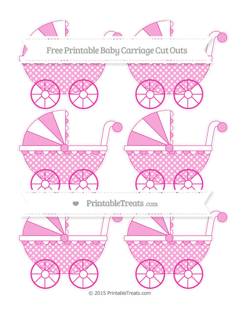 Free Hot Pink Dotted Pattern Small Baby Carriage Cut Outs