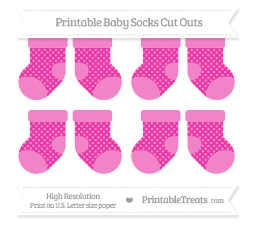 Free Hot Pink Dotted Pattern Small Baby Socks Cut Outs