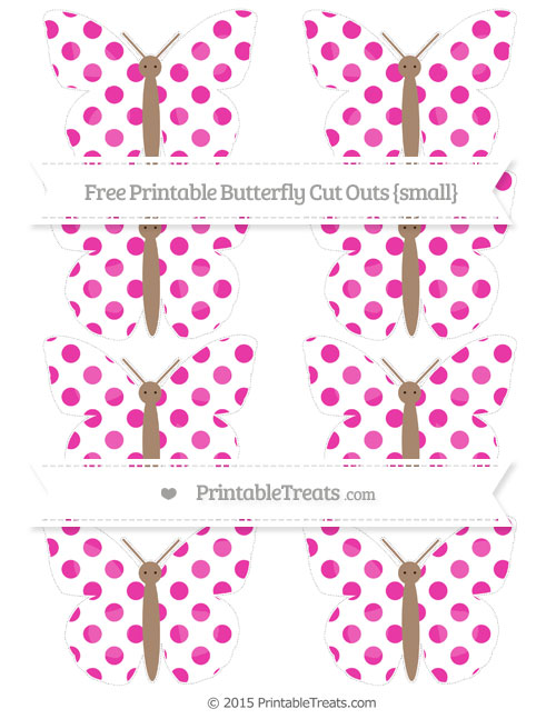 Free Hot Pink Dotted Pattern Small Butterfly Cut Outs
