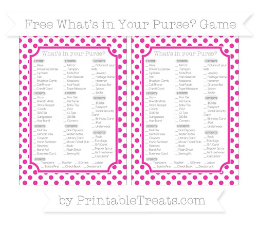 Free Hot Pink Dotted Pattern What's in Your Purse Baby Shower Game