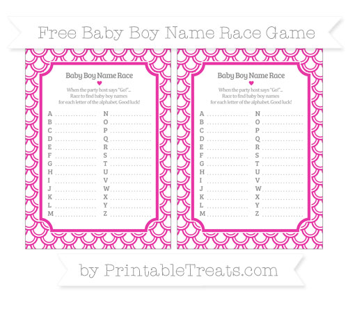 Free Hot Pink Fish Scale Pattern Baby Boy Name Race Game