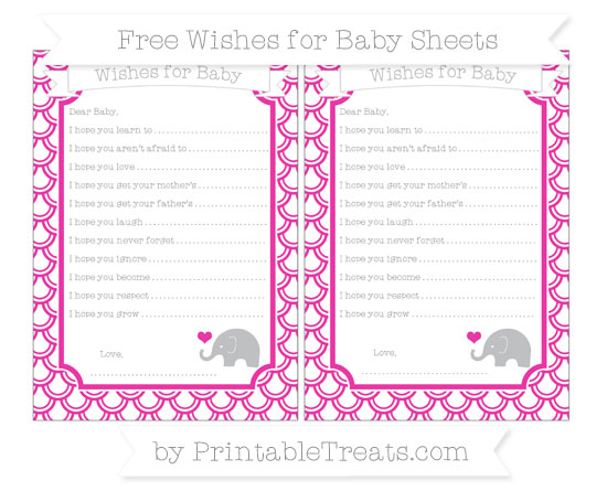 Free Hot Pink Fish Scale Pattern Baby Elephant Wishes for Baby Sheets