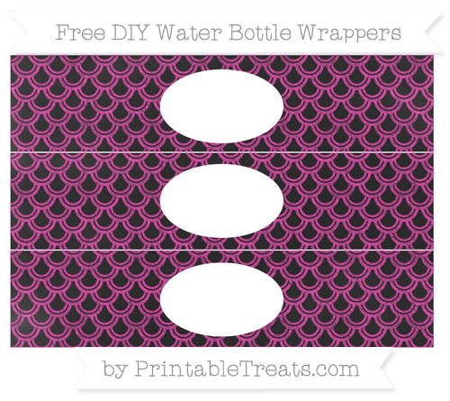 Free Hot Pink Fish Scale Pattern Chalk Style DIY Water Bottle Wrappers