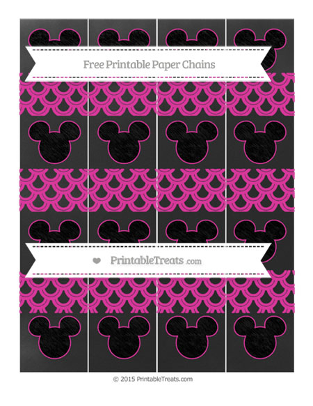 Free Hot Pink Fish Scale Pattern Chalk Style Mickey Mouse Paper Chains