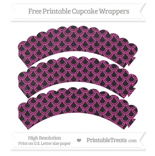 Free Hot Pink Fish Scale Pattern Chalk Style Scalloped Cupcake Wrappers