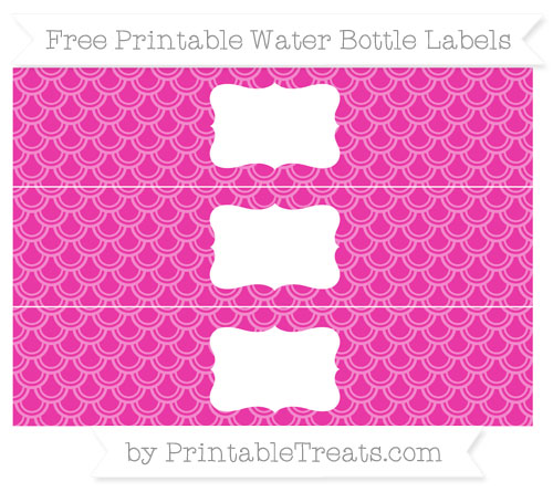 Free Hot Pink Fish Scale Pattern Water Bottle Labels