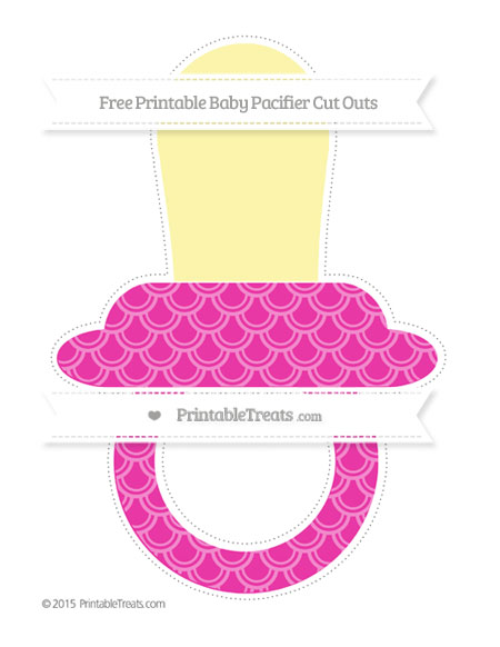 Free Hot Pink Fish Scale Pattern Extra Large Baby Pacifier Cut Outs
