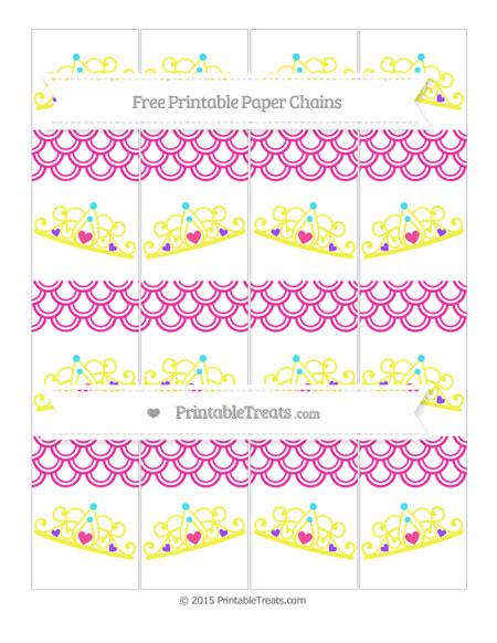 Free Hot Pink Fish Scale Pattern Princess Tiara Paper Chains