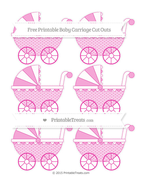 Free Hot Pink Fish Scale Pattern Small Baby Carriage Cut Outs