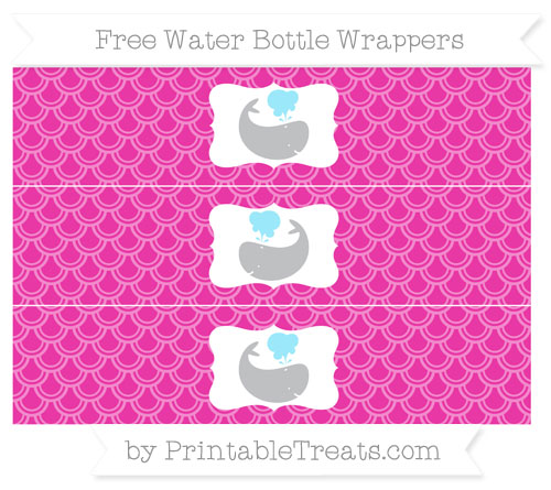 Free Hot Pink Fish Scale Pattern Whale Water Bottle Wrappers