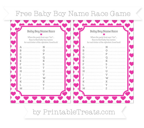 Free Hot Pink Heart Pattern Baby Boy Name Race Game