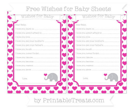 Free Hot Pink Heart Pattern Baby Elephant Wishes for Baby Sheets