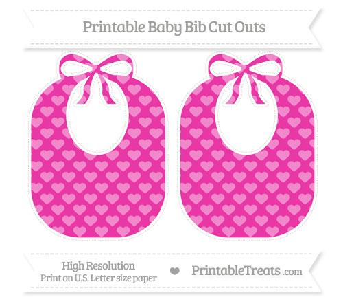 Free Hot Pink Heart Pattern Large Baby Bib Cut Outs