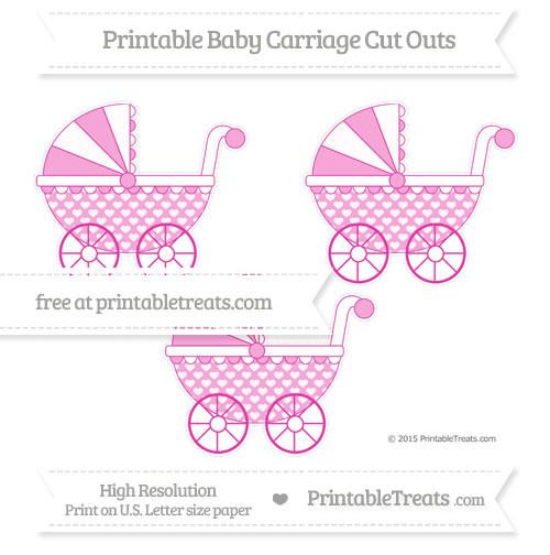 Free Hot Pink Heart Pattern Medium Baby Carriage Cut Outs