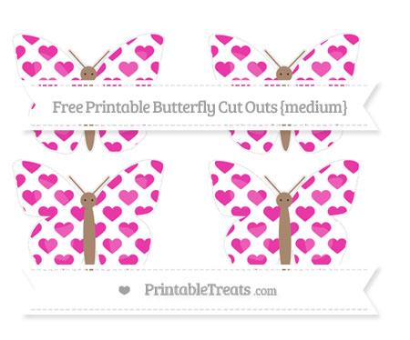 Free Hot Pink Heart Pattern Medium Butterfly Cut Outs