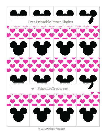 Free Hot Pink Heart Pattern Mickey Mouse Paper Chains