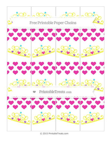 Free Hot Pink Heart Pattern Princess Tiara Paper Chains