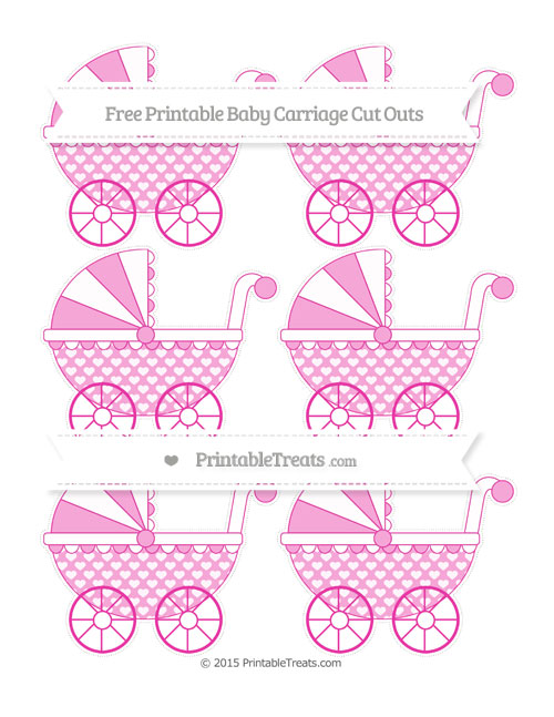 Free Hot Pink Heart Pattern Small Baby Carriage Cut Outs