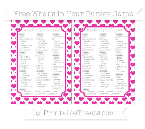 Free Hot Pink Heart Pattern What's in Your Purse Baby Shower Game