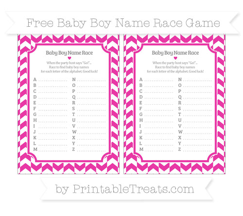 Free Hot Pink Herringbone Pattern Baby Boy Name Race Game