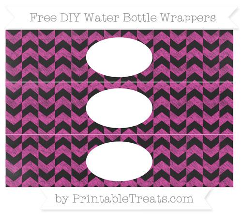 Free Hot Pink Herringbone Pattern Chalk Style DIY Water Bottle Wrappers