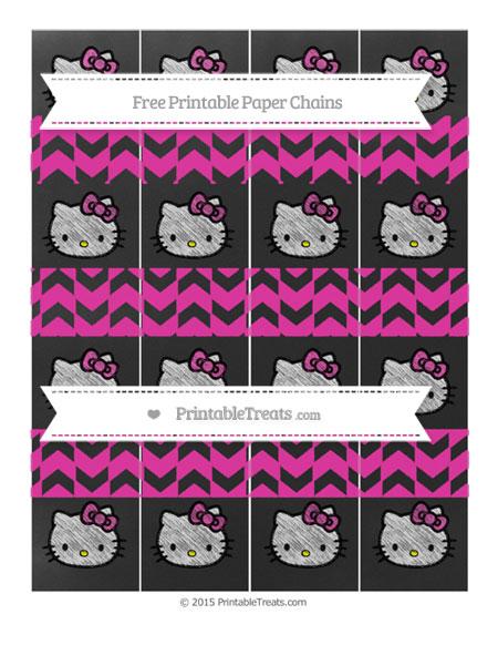 Free Hot Pink Herringbone Pattern Chalk Style Hello Kitty Paper Chains