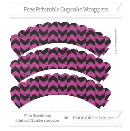 Free Hot Pink Herringbone Pattern Chalk Style Scalloped Cupcake Wrappers