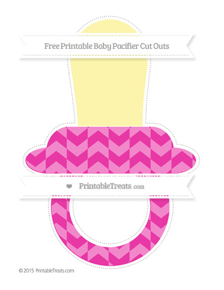 Free Hot Pink Herringbone Pattern Extra Large Baby Pacifier Cut Outs