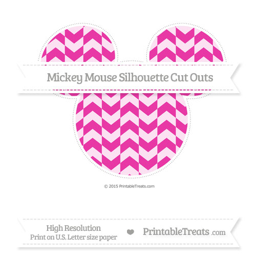 Free Hot Pink Herringbone Pattern Extra Large Mickey Mouse Silhouette Cut Outs