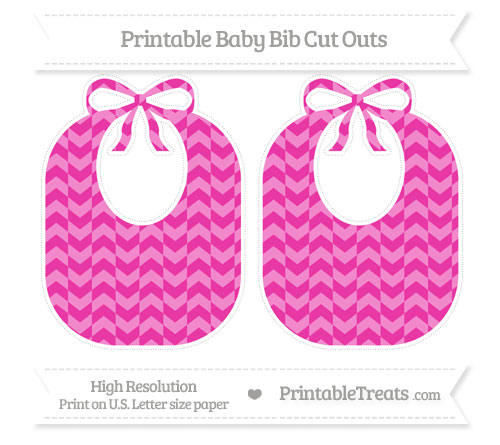 Free Hot Pink Herringbone Pattern Large Baby Bib Cut Outs