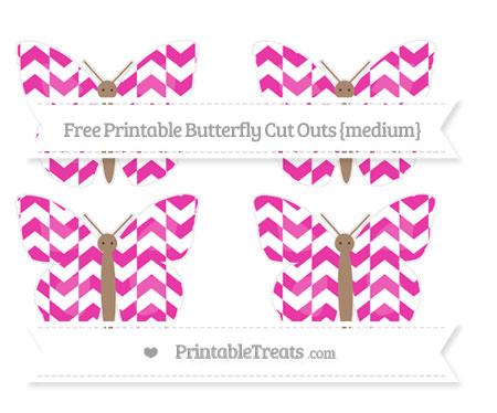 Free Hot Pink Herringbone Pattern Medium Butterfly Cut Outs