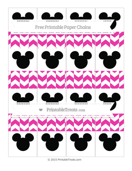 Free Hot Pink Herringbone Pattern Mickey Mouse Paper Chains