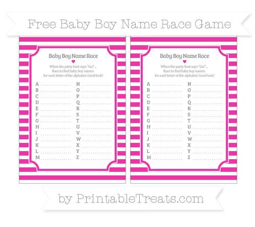 Free Hot Pink Horizontal Striped Baby Boy Name Race Game